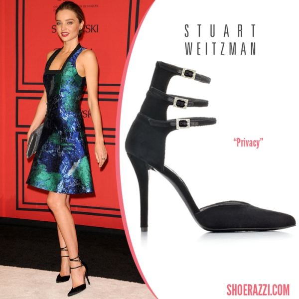6fee0be5c2f ... Miranda Kerr in Stuart Weitzman Privacy ankle-strapped pumps