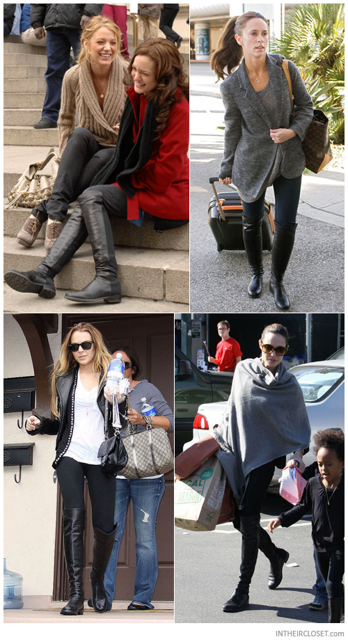 More love for the 5050: Leighton Meester, Jennifer Love Hewitt, Lindsay Lohan and Angelina Jolie rock their Stuart Weitzman boots