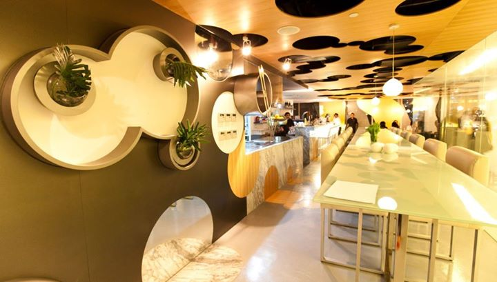 Vask's ceiling was originally intended by architect and co-owner Carlo Calma to look like perforated emmental cheese, but many have also said it reminds them of  Hidden Mickey's