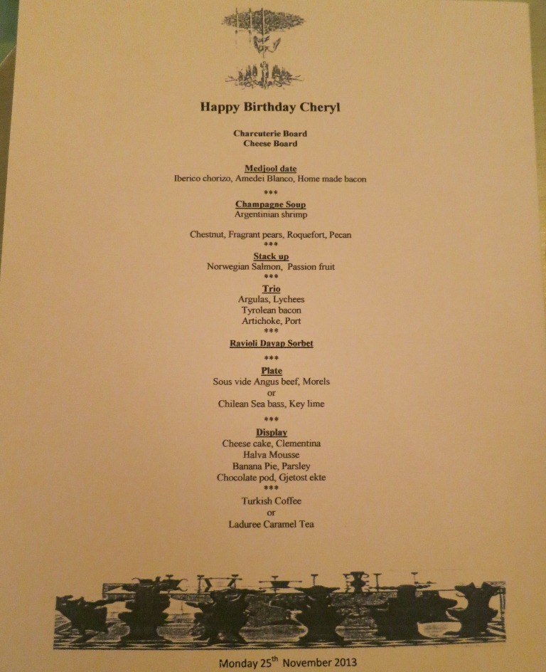 Cheryl Tiu Birthday Menu at Liechtenstein Residence