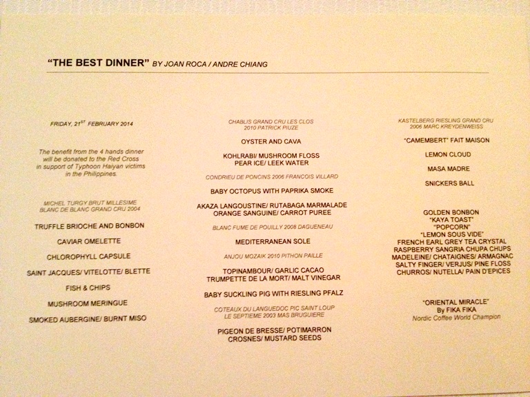 Four Hands Charity Dinner Menu by Chefs Joan Roca and Andre Chiang for Typhoon Haiyan Philippines