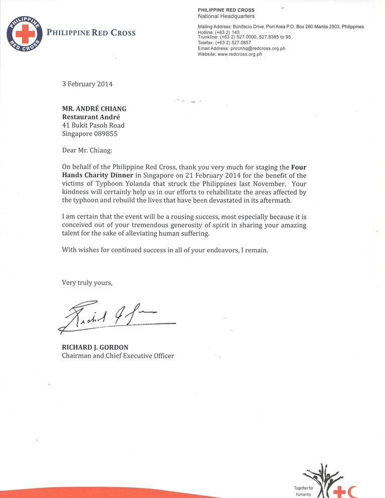 Mr. Andre Chiang Thank you letter from Philippine Red Cross