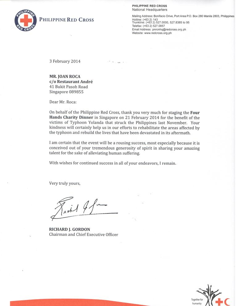 Mr. Joan Roca Thank you Letter from Philippine Red Cross