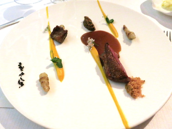 Pigeon de Bresse/ Potimarron Crosnes/ Mustard Seeds by Chef Andre Chiang