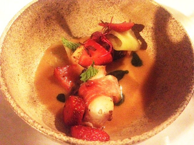 Watermelon and octopus braised in pork fat left in oven toasted for days and rubbed in garlic aoili, and grilled with cucumber tortilas-- bleneded lik gazpacho paried with strawberries dressed in pickled watermelon, and scallions with radish