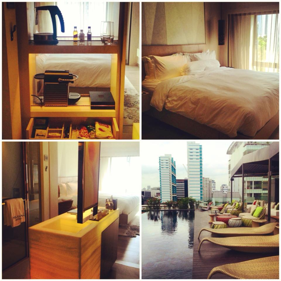 I posted this collage photo of Naumi my social media accounts: My first time out of the country in 2014 and thrilled to be staying at the newly renovated NAUMI Hotel in Singapore! It's a luxury boutique hotel and part of the Small Luxury hotels of the World (just like Discovery Shores ;)) So lucky I got a really good deal on their Habitat room from Agoda (www.agoda.com) ... 7 layer bedding in 400 thread-count Egyptian Cotton, bath amenities from Malin + Goetz, complimentary minibar and they have Apple TV's AirPlay Mirroring (so guests can screen what's on their Apple devices to the TV). Plus, the furniture at their Cloud 9 rooftop infinity pool is all Dedon! Check them out the next time you're in the Lion City!