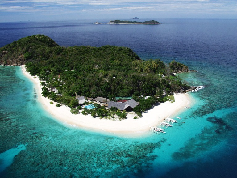 Approaching paradise... Aerial shot of Club Paradise which sits on Dimakya Island in Coron, Northern Palawan (Photo courtesy of Club Paradise)