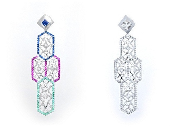 Metropolitan Cathedral diamond and precious stones earrings, 1.18 carats blue sapphire, 0.94 carats of ruby, 0.81 carats of tsavorite, and 0.32 total carat weight of diamonds, set in white gold; Metropolitan Cathedral diamond earrings, 2.10 total carat weight, set in white gold