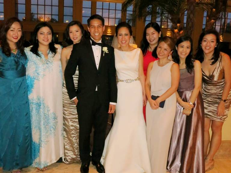 I used the chic Derek Lam clutch for the wedding of my high school friend Ella Mae Chua to Jason Tigas. (L-R): Rhea Austria, Tammy David, Carissa Chan, the newlyweds, Catherine Young, me, Cathrine Ang, Stella Uy