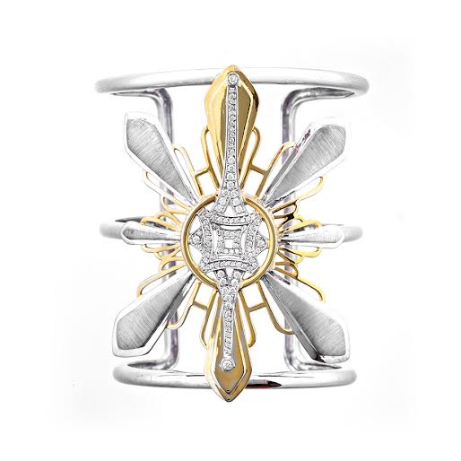 Three Stars and a Sun diamond cuff, 1.00 total carat weight, set in white and yellow gold