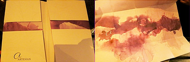 The Artesian menu turns into a watercolor painting you can bring home