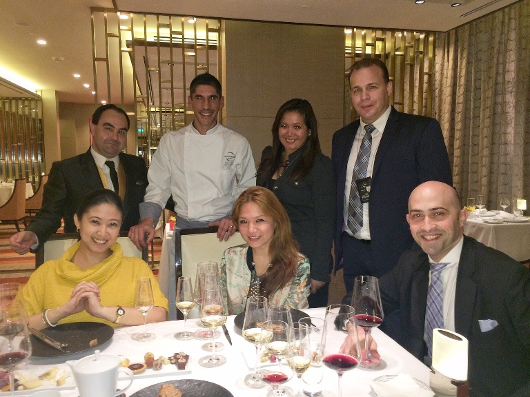 Standing: Tasting Room manager Damien Planchenault, Chef William Mahi, City of Dreams PR Director Erika Aquino, F&B Director Anthony Hannan; Seated: Margaux Salcedo, me and Assistant Director of F&B John Henry Kitchens III