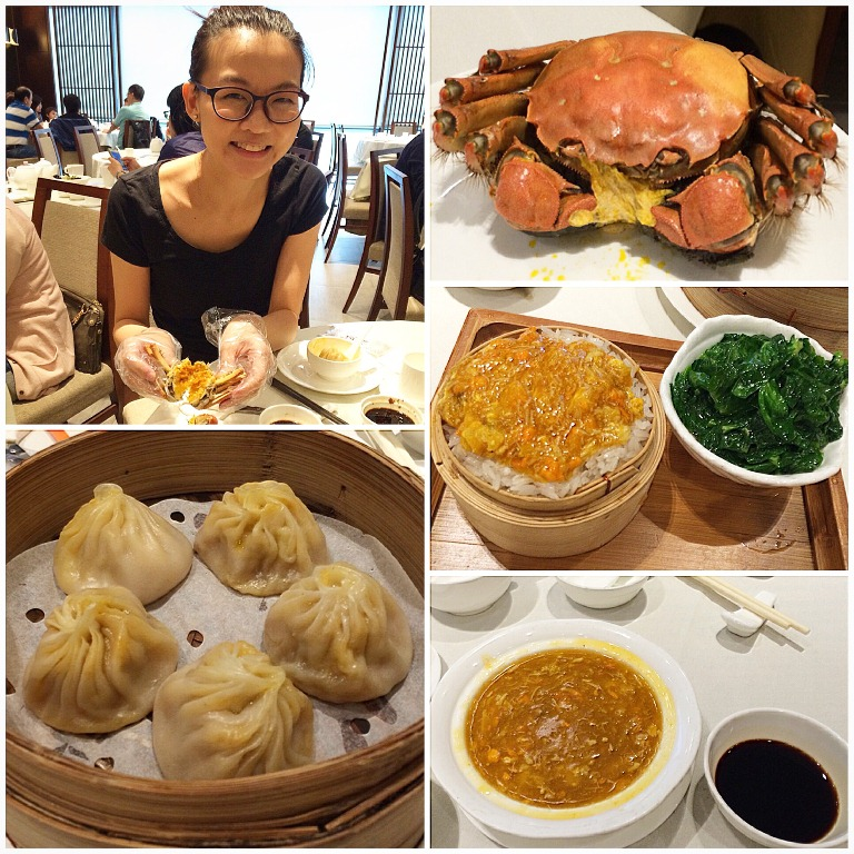 The cool thing about Wu Kong is that when you get the set menu-- you get the hairy crab-- plus it in different forms, like as a xiao long bao, etc. Here I am with Hong Kong food writer Janice Leung Hayes also known as E-Ting :)