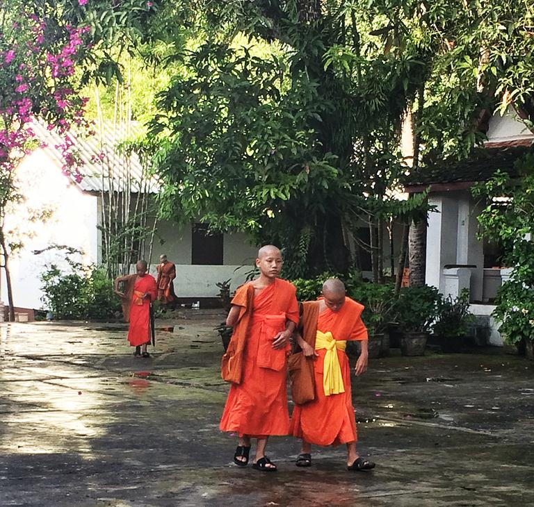 "Young Buddhist monks at a monastery that serves as their school. One of them found out I was from the Philippines, and he said ""Kamusta."" So precious."