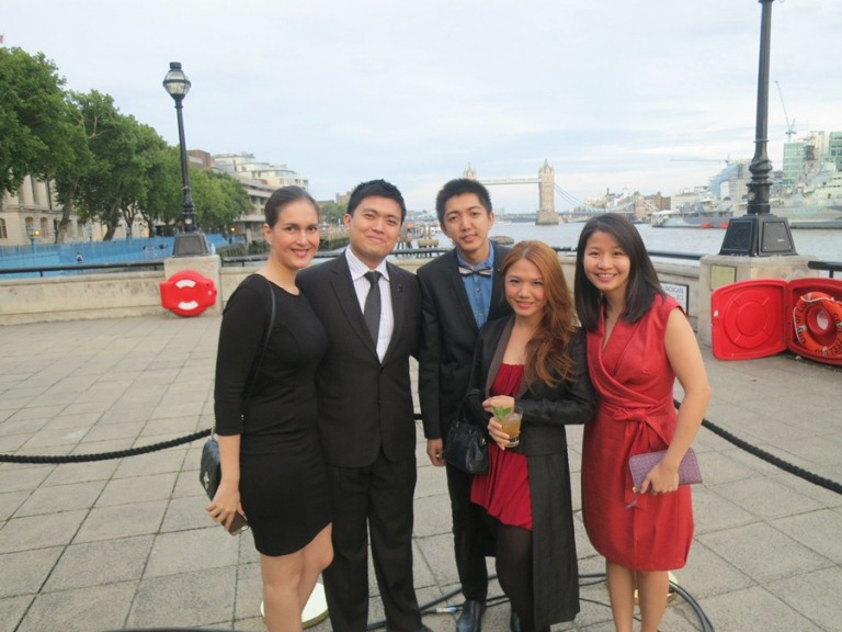 At the Old Billingsgate for the 2014 Diageo World Class Finals with the Philippine Team: Diageo's Marie Ona, and The Curator's Jericson Co, Yoma Rivera and Tiffy Yu, representing the Philippines! You did us proud, Yoma!