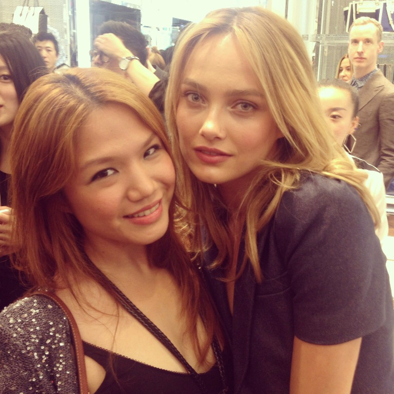 With Estonian supermodel Karmen Pedaru, who is quite literally the face of almost all the Michael Kors campaigns.