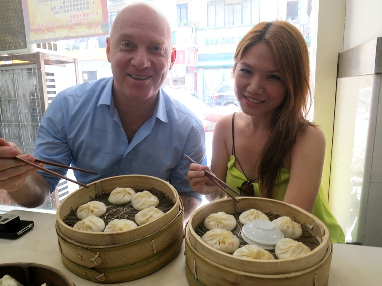 Too cool for school. I have THE David Laris as my guide around Shanghai. (He's super huge in China!) Here we are having crab roe xiao long baos at Jia Jia Tang Bao! Sooo yum, juicy and soupy!