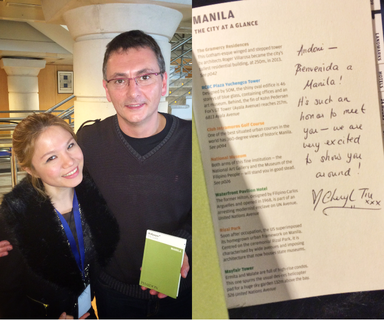 Waaaah, I was already so starstruck when I met him, but THE Andoni Aduriz aka MUGARITZ asked ME to sign the Wallpaper* City Guide Manila for him!!!