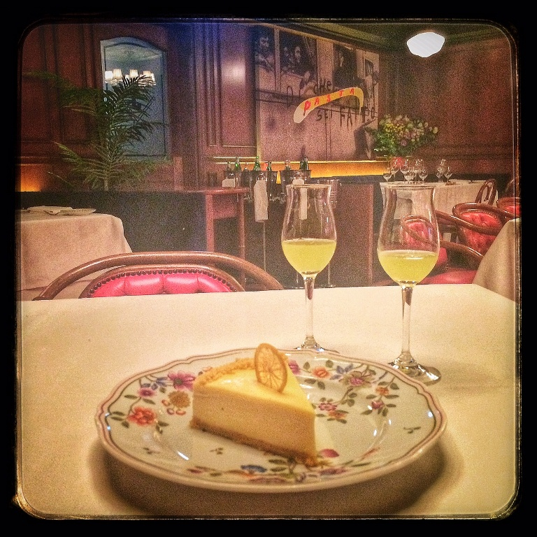 The best lemon cheesecake + limoncello are the perfect way to end a meal at Carbone! Warning, you won't be able to breathe after! So good!