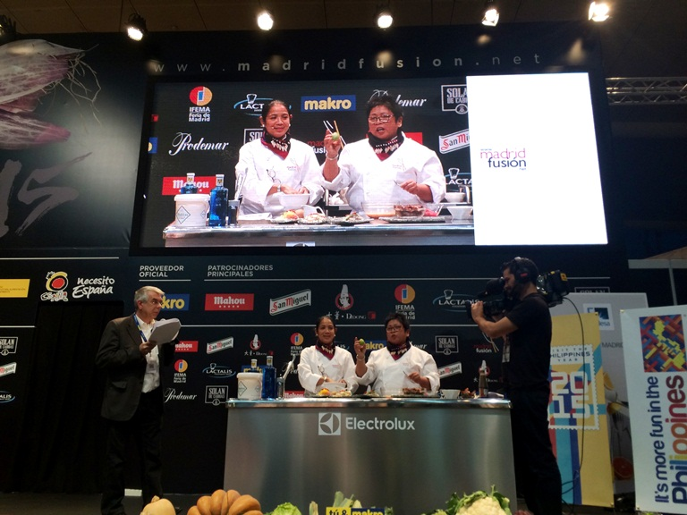 Chefs Margarita Fores and Myrna Segismundo presenting and doing a cooking demo of our kinilaw at Madrid Fusion 2015 in Spain