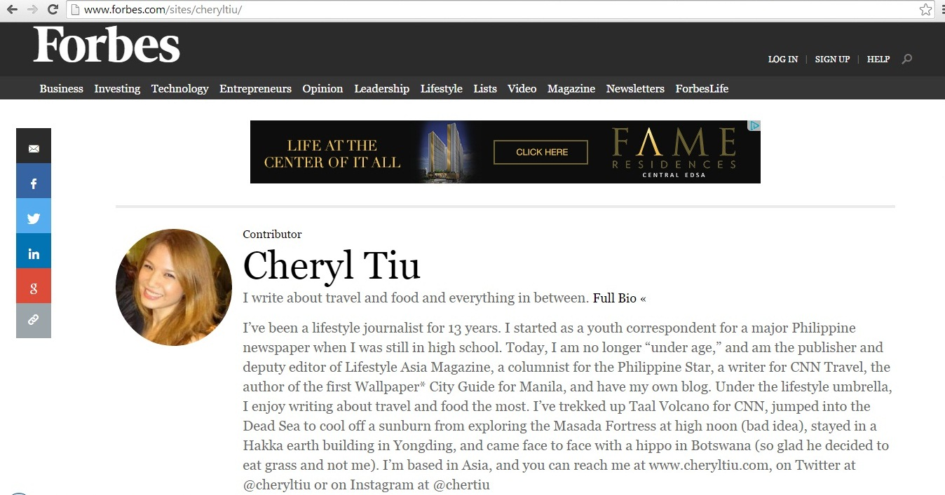 Cheryl Tiu- Forbes USA- Miss Adventures