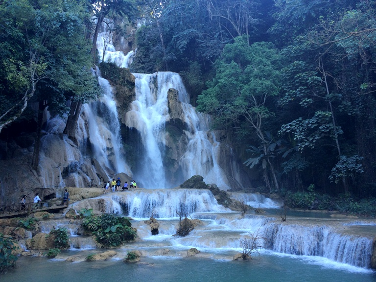 And that I leave you with.. the serenity and beauty of the three-tiered Kuang Si Waterfalls. A favorite sidetrip from Luang Prabang, it falls 250 feet.