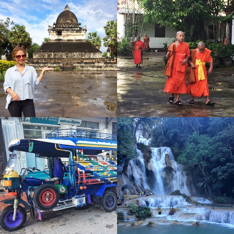 "Hello from Luang Prabang!!! Clockwise from L-R: The watermelon-shaped That Makmo; Young Buddhist monks at the monastery that serves as their school. One of them found out I was from the Philippines, and he said ""Kamusta."" So precious; Gorgeous Kuang Si falls are a favorite side trip; a Lao ""jeepney"""
