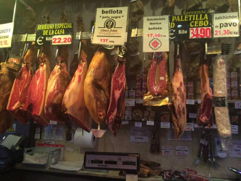 The jamon situation! At the tour, you taste and find out the differences between jamón serrano, jamón ibérico de recebo and jamón ibérico de bellota
