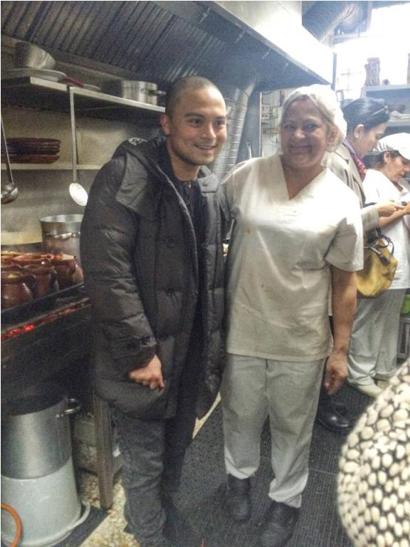 Chef meets cook! Our very own Bruce Ricketts of Mecha Uma in the Philippines meets the Spanish cook at La Bola in the kitchen and they both looked so happy!