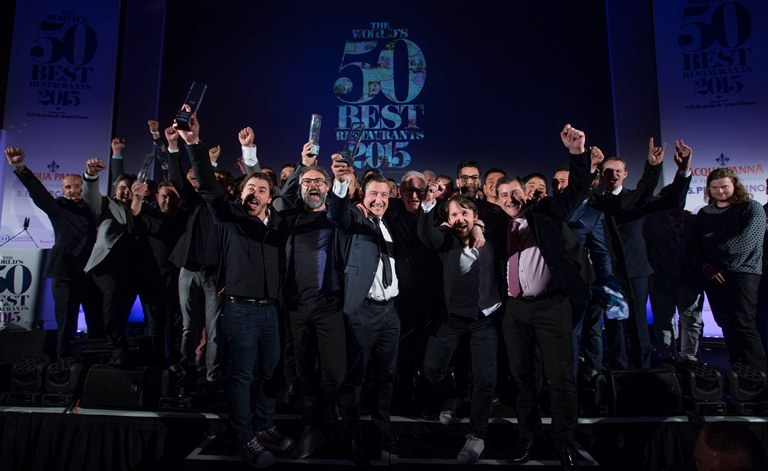 The winners of the 2015 World's 50 Best Restaurants at the awards ceremony at the Guildhall, London (Photo courtesy of World's 50 Best)
