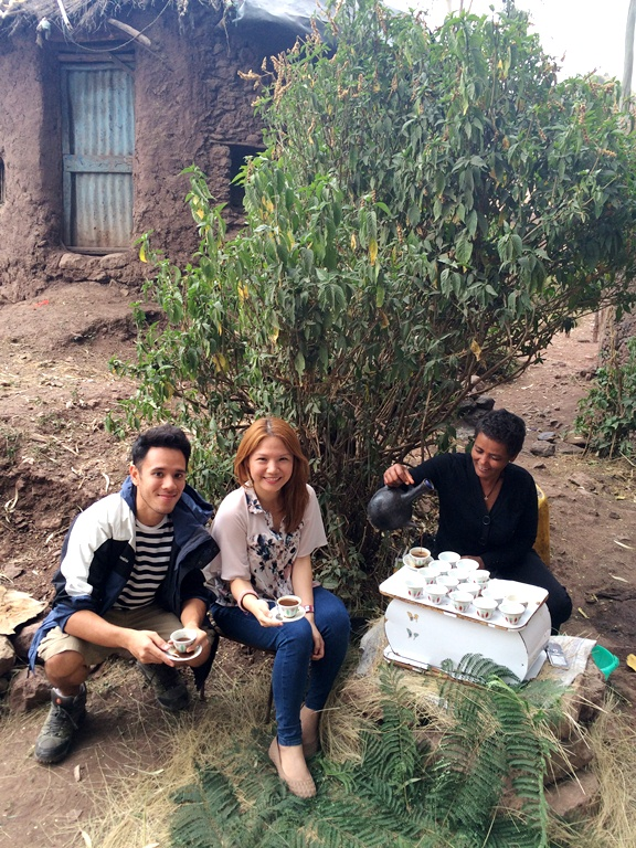 Pepe Diokno, Cheryl Tiu  having traditional coffee by Rock-Hewn Churches, Lalibela Ethiopia