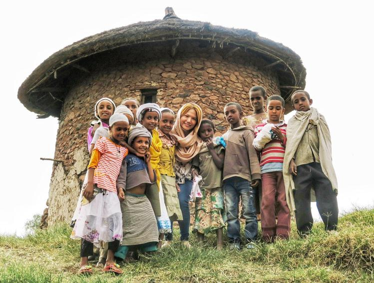 The children I met in Lalibela were some of the friendliest I have ever encountered. Here we are in front of the tukul, or a traditional stone hut made from stone and mud that's now protected by UNESCO, outside the rock-hewn churches