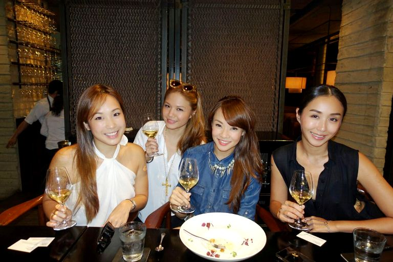 Pausing for a photo-op (post-oysters!) at Bedrock! (L-R) Victoria Cheng, myself, Jade Seah and Rosalyn Lee