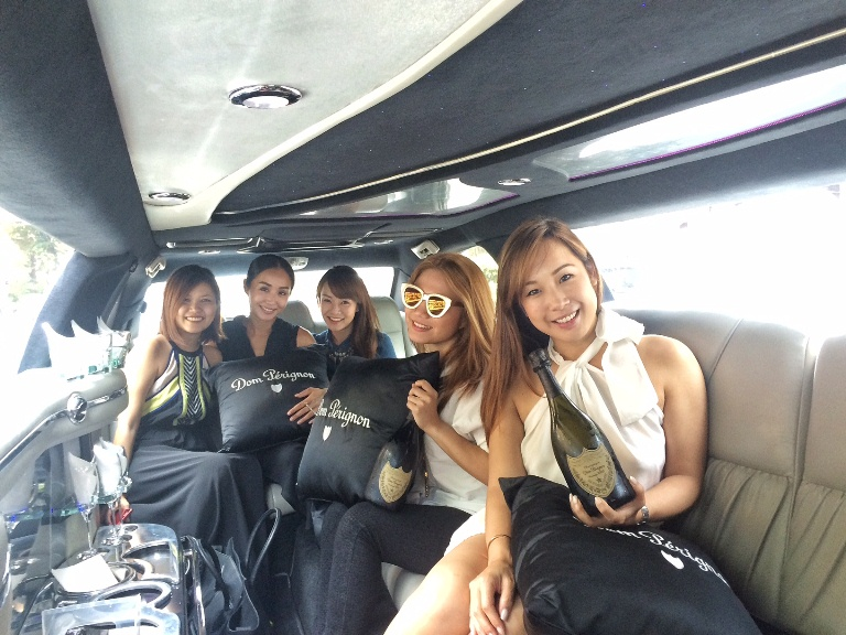 On the Dom Perignon stretch limo with Singapore-based personalities Victoria Cheng, Jade Seah, Rosalyn Lee (aka Hey Rozz) and Karen Tan