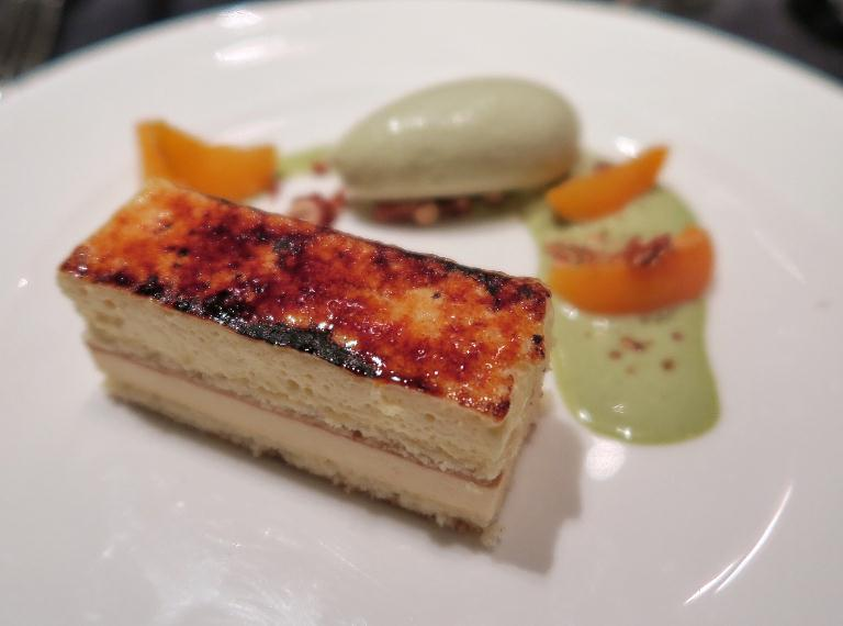 Apricot and yuzu chiboust served with hazelnut brittle and Sicilian pistacchio ice cream at One Ninety at Four Seasons