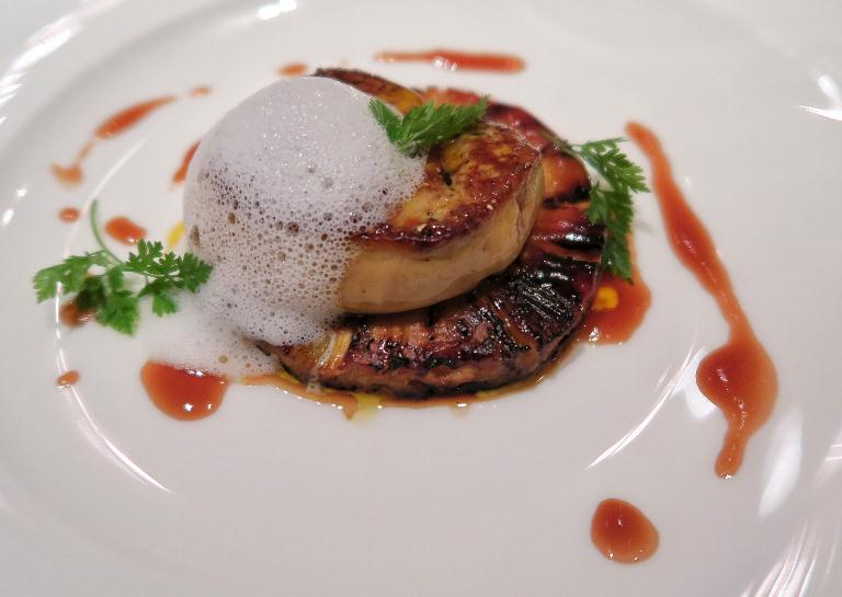 Pan-seared duck foie gras with roasted pineapple and coconut essence at One Ninety, Four Seasons Singapore