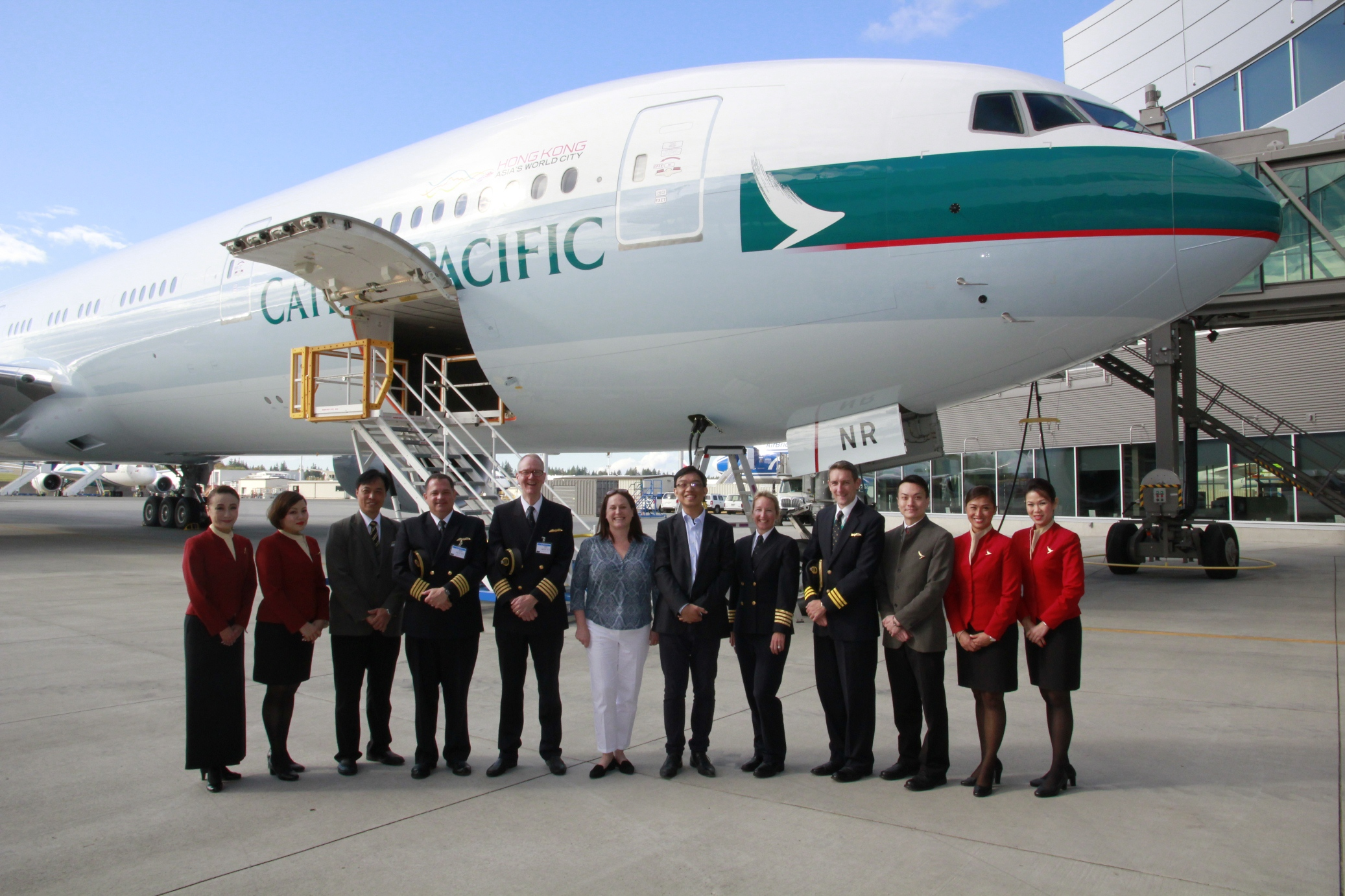 Cathay Pacific Boeing 777-300 ER Delivery Flight Pilots and Cabin Crew- September 2015