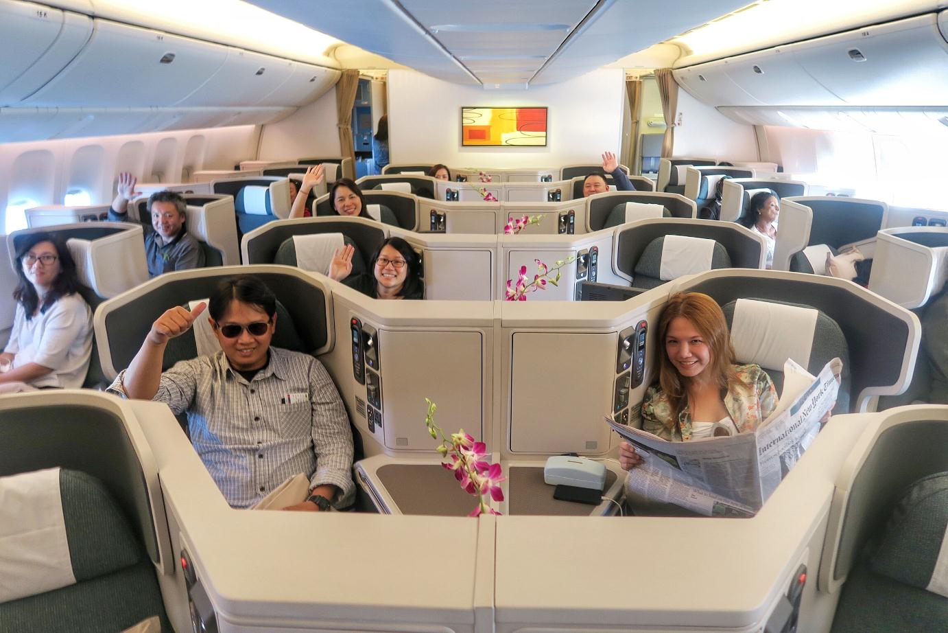 "The special CX3339 delivery flight of this Boeing 777-300ER that we ""picked up"" from Everett, Washington, was just us 40 guests (journalists around Asia + Cathay Pacific executives + engineers) occupying all of business class, plus 10 pilots and cabin crew."
