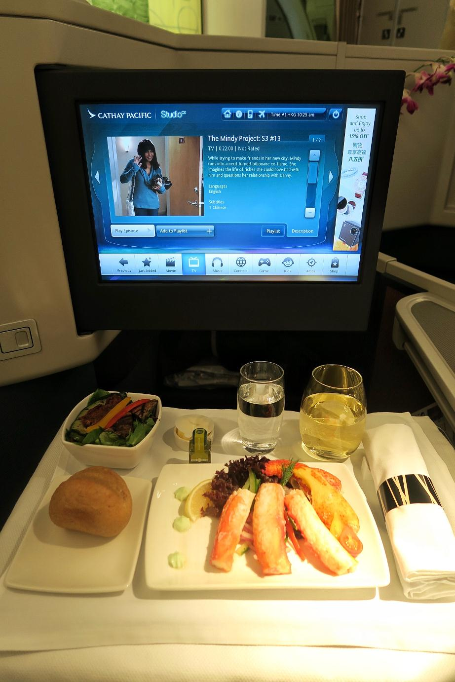 Cathay Pacific Boeing Delivery Flight Meals Inflight Entertainment