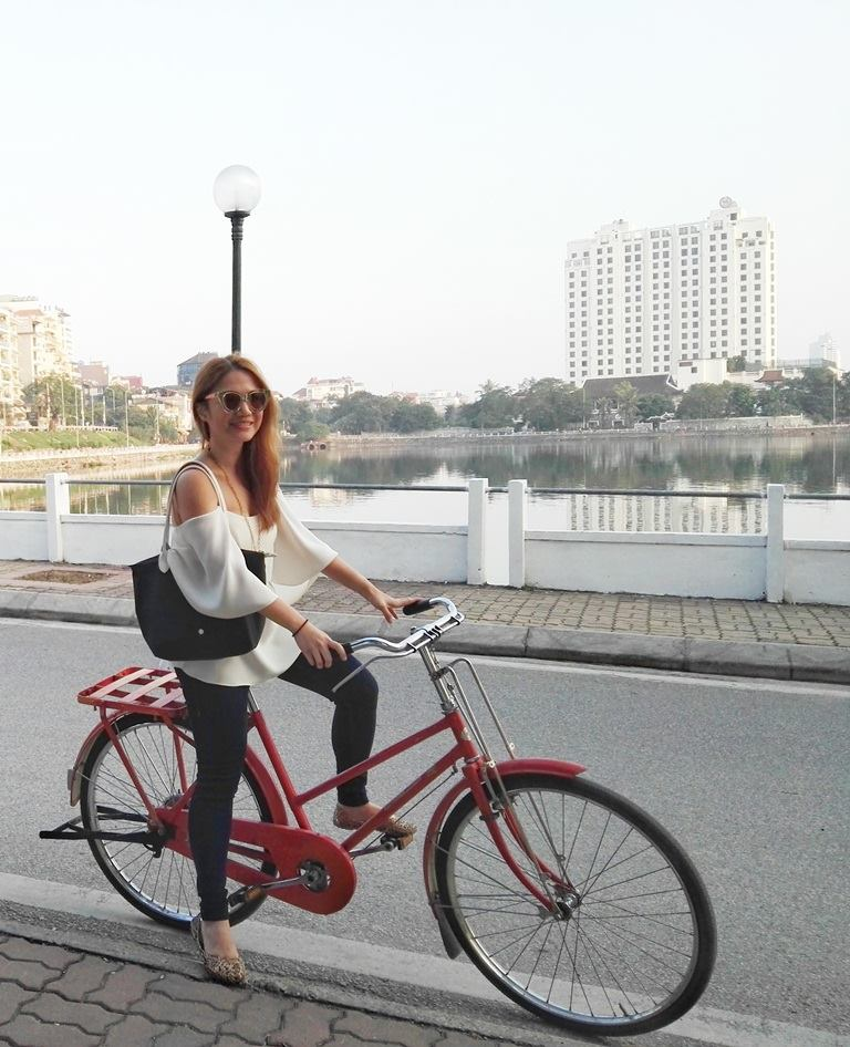 Cheryl Tiu biking West Lake, Hanoi, Vietnam