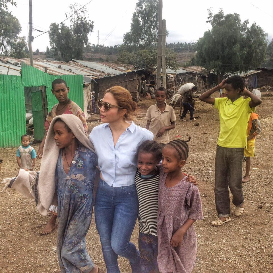 Cheryl Tiu with children in Lalibela, Ethiopia