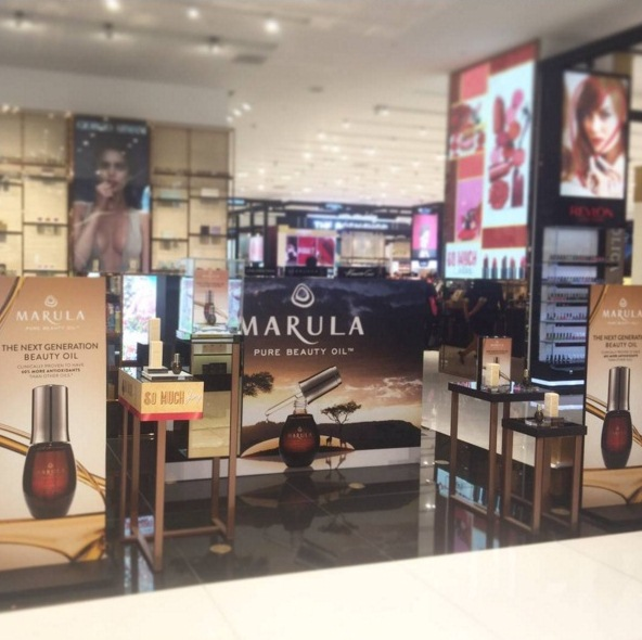 Marula Pure Beauty Oil is now available in the Philippines at SM Department store's beauty departments! This is their display at SM Makati. (Photo courtesy of SM Fast Beauty's Instagram account)
