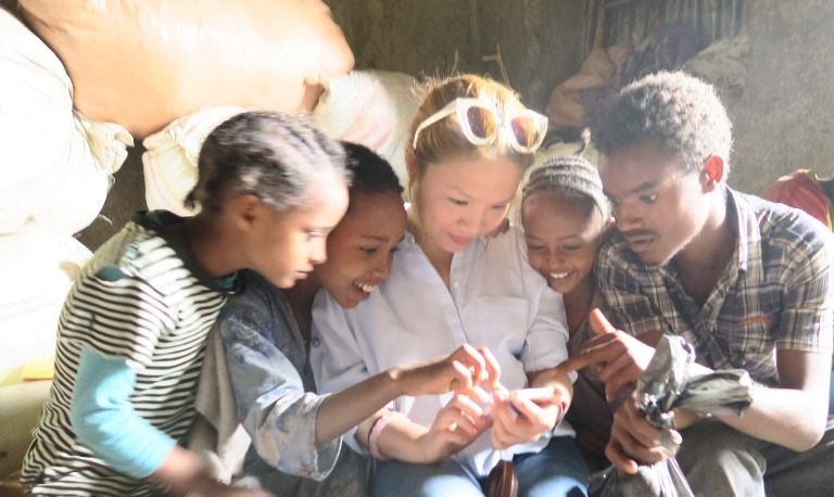 With children in Lalibela, Ethiopia