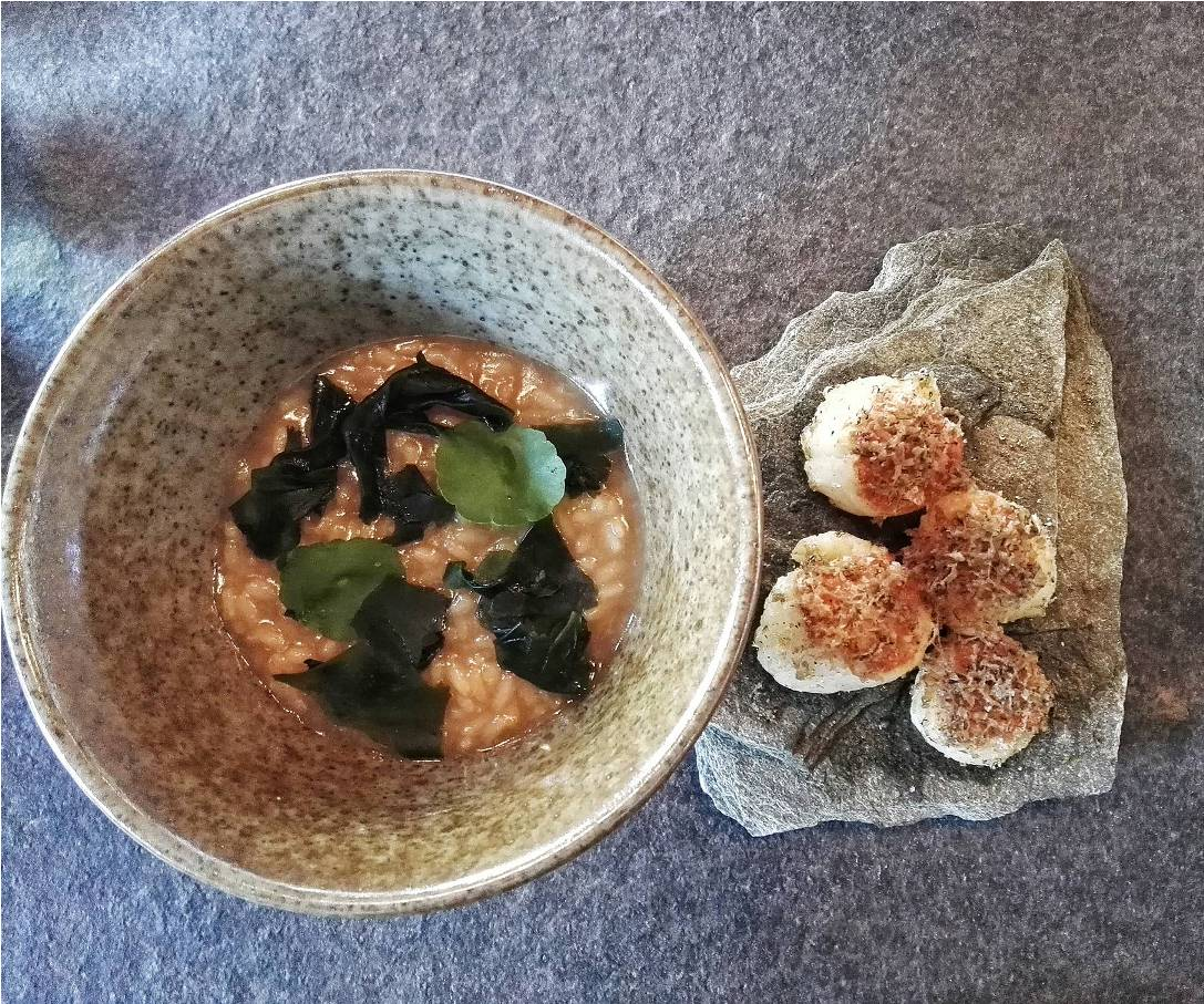 """3 Cups Rice"" (P660) is what Patrick calls the ""Chinese adobo, as it's made with 1 cup each of sesame oil, soy sauce and Chinese rice wine) and served with gorgeous scallops from Roxas topped with smoked tried tuna roe an black truffles"