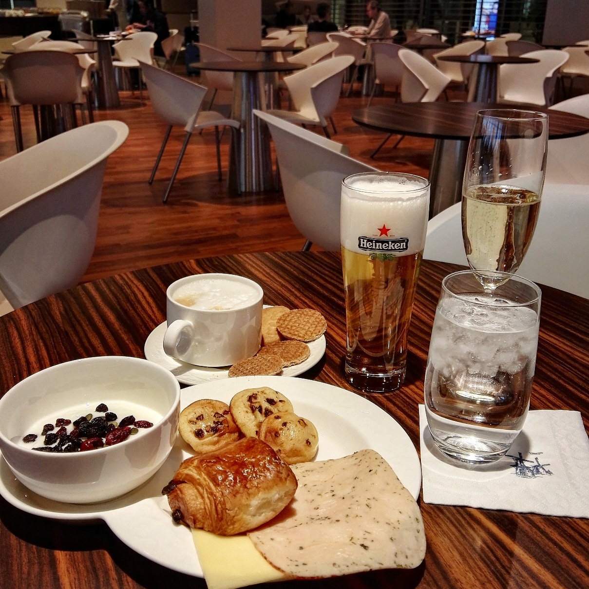 Dutch breakfast at KLM Crown Lounge at Amsterdam Schiphol Airport
