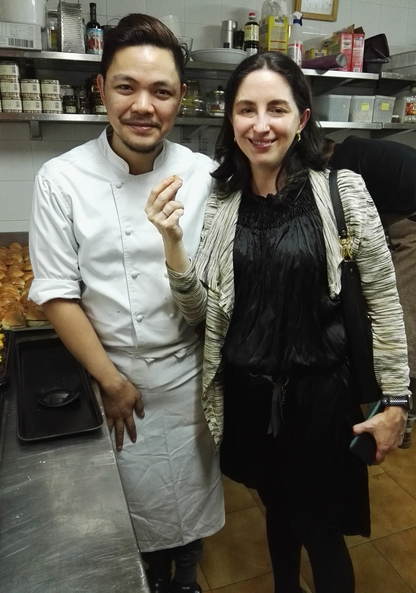 Elena Arzak loves the Philippines! Here she is eating Miko Aspiras' polvoron at the Philippine reception