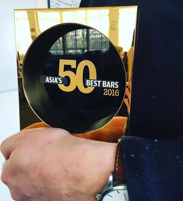 The trophy en route to Asia's #1 bar... find out who at the end of this post :) (Photo courtesy of World's 50 Best Bars)