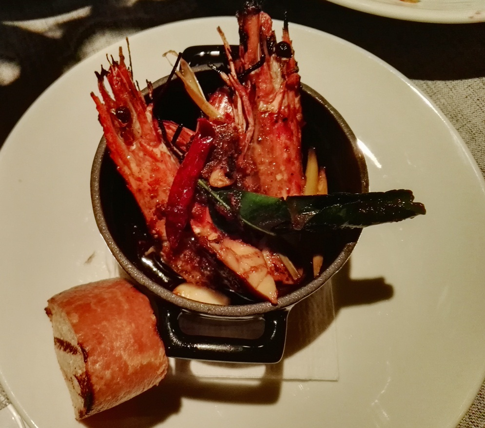 Succulent grilled tiger prawns served with tom yum infused olive oil