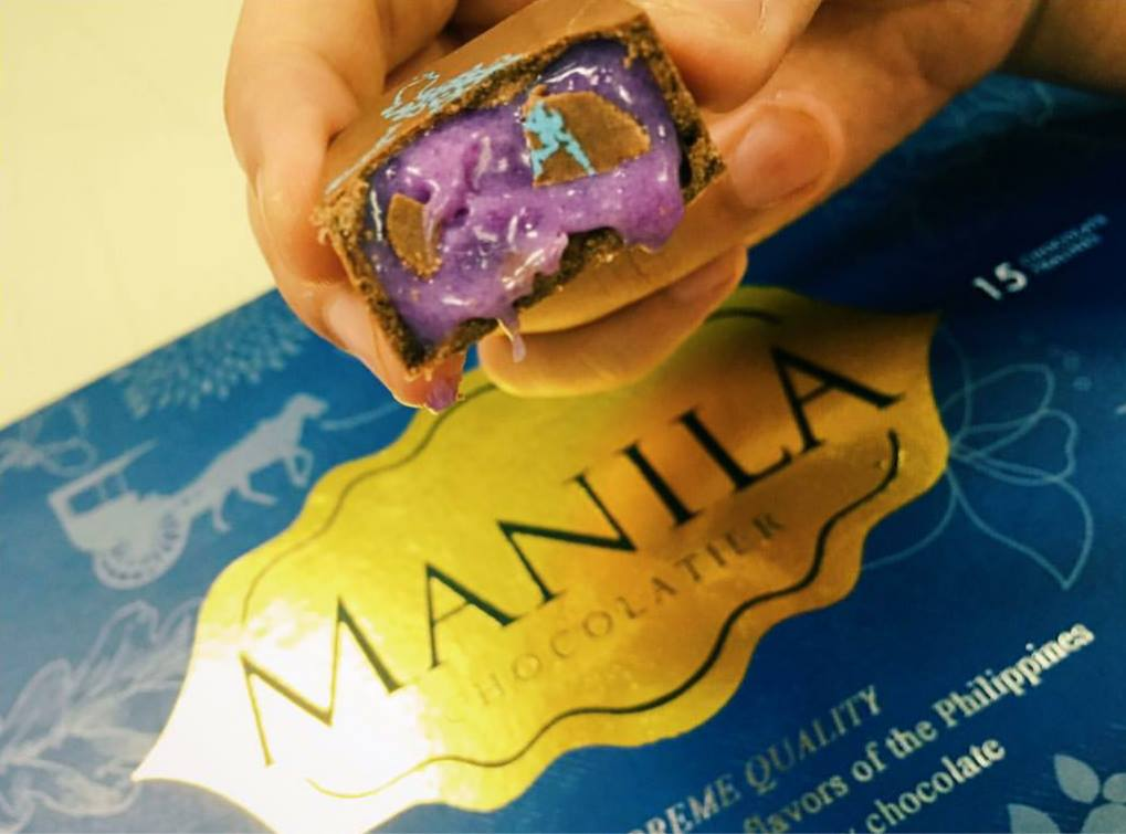 Manila Chocolatier's chocolates are filled with only Filipino ingredients. This is ube, also known as purple yam, one of the crowd favorites. (Photo courtesy of Roxanne Lee)
