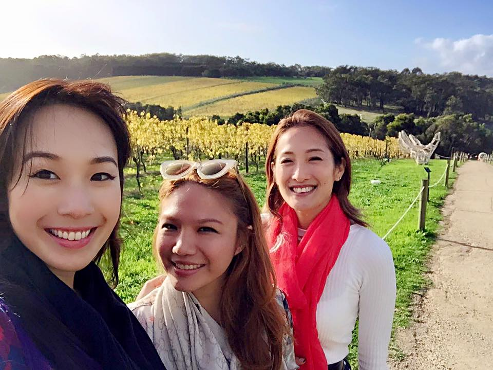 Girls' trip to Melbourne with Victoria Cheng and Xindi Siau. Here we are at the stunning Montalto Winery by the Mornington Peninsula, the only winery with an art/ sculpture tour. They make excellent pinot gris, too, my fave wine this trip!